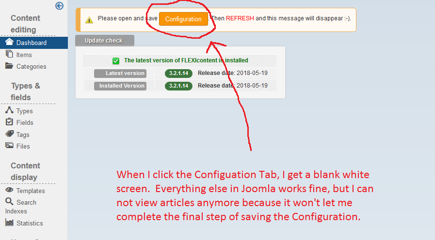 White Screen when Clicking the Flexicontent Configuration Button 06